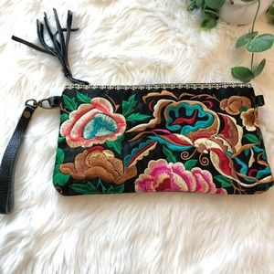Floral Embroidered Boho Wristlet Purse